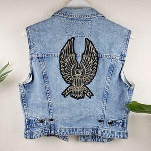 Rare Parasuco | Eagle Design Biker Jean Denim Vest